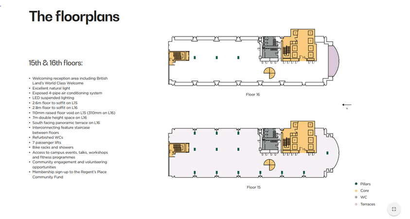 Typical Floor Plan - 338 Euston Rd, Regent's Place, London - Office for rent - 7,256 to 14,524 sq ft