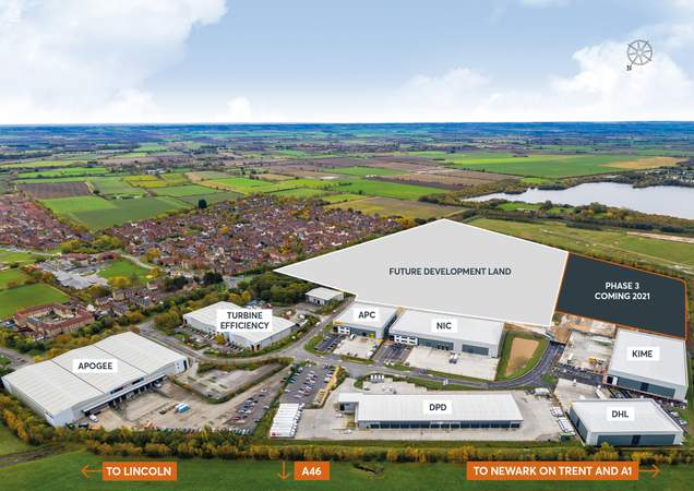Aerial - L16, Electric Ave, Lincoln - Industrial unit for rent - 15,560 sq ft