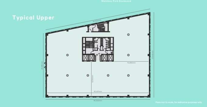 Typical Floor PLan - The Hive Building, Wembley - Office for rent - 6,744 to 53,948 sq ft