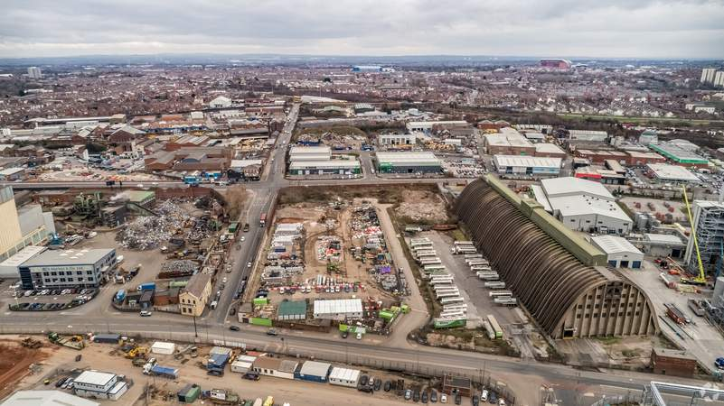 East View Towards Anfield - Land at Regent Rd, Liverpool - Commercial land plot for sale - 4.14 acres