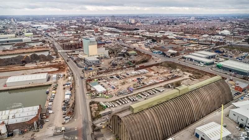 North East View - Land at Regent Rd, Liverpool - Commercial land plot for sale - 4.14 acres
